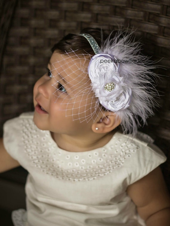 The Sloan- Christening or Baptism Handmade Rosette Flower Headband with Feather and Veiling and Diamond Accents