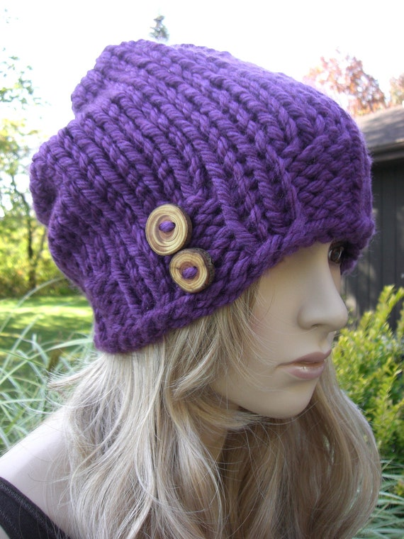 Hand Knit Purple Chunky Slouchy Beanie With Natural Wood Buttons