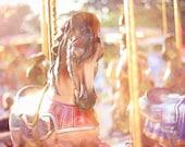 Carousel Horse Photography, Carousel Horses Photo, Merry Go Round, Dreamy Carnival Nursery Print, Pastel Peach, Gold, Purple Wall Art, 8x12