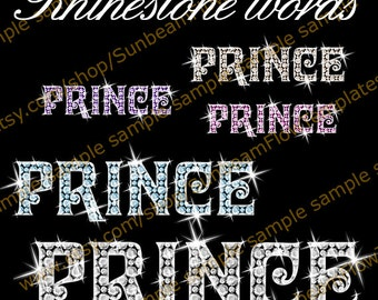 INSTANT DOWNLOAD - Rhinestone words Prince 01 clip art PNG elements Digital lady girl Images Scrapbooking Scrap Invitations Print Your Own