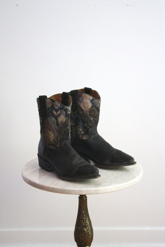 tapestry cowboy boots leather southwestern s