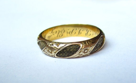 SALE- Antique (1855) Pre-Civil War Etched Flowers Mourning Hair RIng