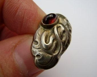 Antique Danish Early Georg Jensen Skønvirke Arts & Crafts Art Nouveau 826 Silver Cuff Link Button Brooch Pin Garnet Cabochon Stone Skonvirke