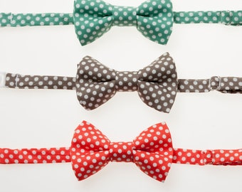 Children's Bowties - Teal, Pewter, or Coral with White Dots - Choose One -