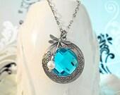 Locket Necklace Aquamarime Blue Necklace Dragonfly Locket Necklace March Birthstone, Mom Gift Idea Wedding Prom Jewelry