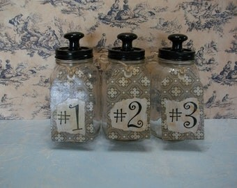 Mason Jars With Drawer Knob Finials and Handmade Number Tags / Apothecary Jar Set / Kitchen Decor / Recycled Mason Jars