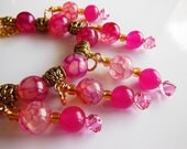 Hot Pink Agate Crystal set earrings and Necklace  S323