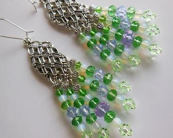 Crystal Green on Silver chandelier earrings  E299