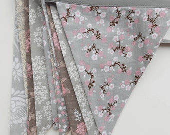 Grey, Silver and Pink Banner  /  Wedding Buntingr / Photo Prop/ Bridal Shower/ Silver Anniversary Decoration