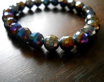 Metallic Iris Round Faceted Beads- 8mm,10pcs
