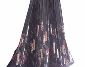 Bohemian Black Velvet Patchwork Skirt/ Gypsy Boho Embroidered