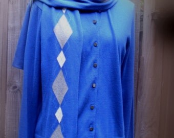 Sale Vintage Royal Blue Cardigan and Scarf with tag