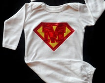 Boy Infant Gown Monogram Layette  Superhero  Baby Boy Clothes Gown and Beanie Hat Newborn Take  Home Outfit  Boy Gift Set