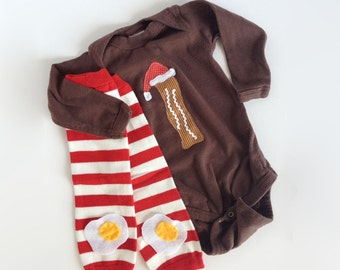 Funny Christmas Santa Bacon and Eggs One piece with Striped Baby Leg Warmers