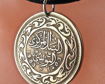 TUNISIA PENDANT. Tunisia coin jewelry . tunisia coin . Mens Necklace. For Him. millimes . vintage coin charm.  No.001071