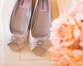 Wedding shoes wedge heel low heel bridal shoes embellished with floral ivory French lace and a crystal brooch