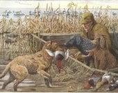 Duck Hunting Print, Retriever and Spaniel Dogs, 1910s Louis Agassiz Fuertes Artwork, Antique Art Print