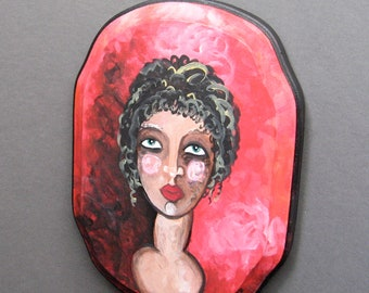 Original Painting - Portrait of Greek Lady with Red Backdrop - Small Painting on Wood - Ready To Hang