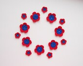 Crochet Flower Applique, Bright Blue & Hot Red, Set of 14