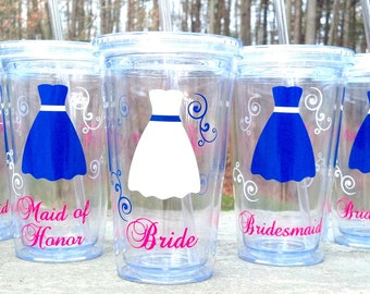 Bride and Bridesmaids Tumblers, 1 wedding party acrylic glasses with lid and straw, flower girl juice cups. BPA Free