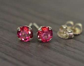 Topaz Classic Stud Earrings, with 2.25ct tw Rose Pink Topaz