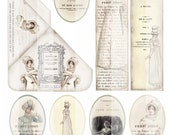 JANE AUSTEN GOODIES 1 - Persuasion - Bookmarks - Digital Scan - Printable Download - Tags - Romantic