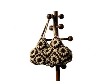 Crochet bag in chocolate brown and beige flowers, crochet hand bag, shoulder bag
