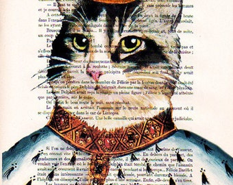 Acrylic paintings Illustration Original Prints Drawing Giclee Posters Mixed Media Art Holiday Decor Gifts: King Cat, coco