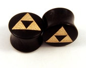 """Gold Tri Force Ebony Wooden Plugs PAIR - 2g to1 1/2"""" (38mm) incl 5/8"""" 16 mm 17.5mm 3/4"""" 19mm 20.5mm 7/8"""" 22mm 1"""" 28mm Golden Wood Ear Gauges"""