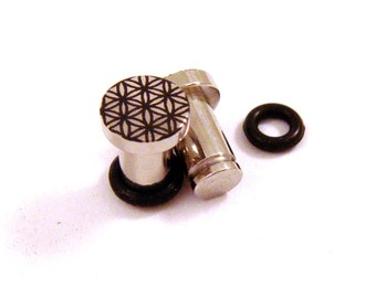 Flower of Life 316L Surgical Steel Plugs - Single Flared - 8g (3mm) 4g (5mm) 2g (6mm) Sacred Geometry Metal Ear Gauges