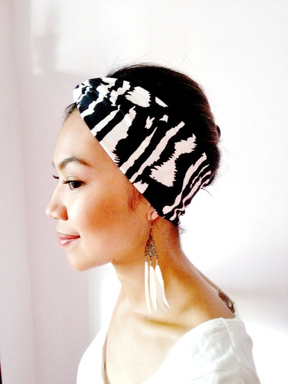 Tribal Aztec Print Turban Headband - Africa print, Wide headband, Turband,