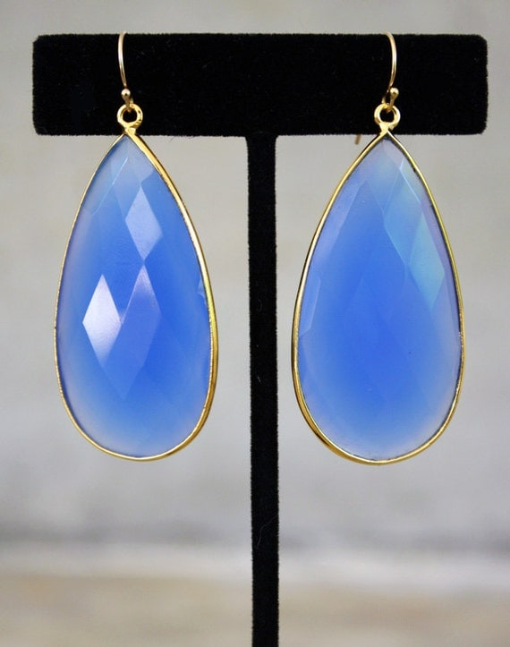 Long Blue Chalcedony Drop Earrings