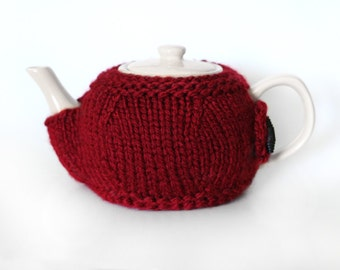 Teapot Cozy  - Christmas/Valentines Red - Hand Knit - Tea Lover - Gift Idea For Any Tea Lover / Fanatic - 6 Cup Tea Pot