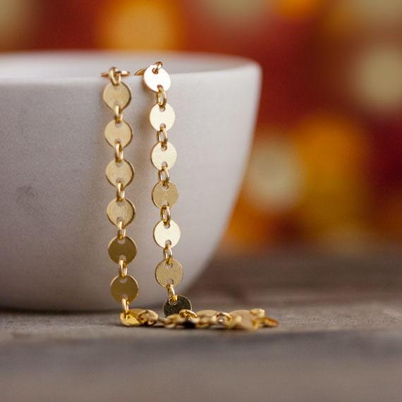 Petite Gold Dots Bracelet / Elegant Dainty Gold Bracelet 14K Gold Filled / Everyday Jewelry by burnish