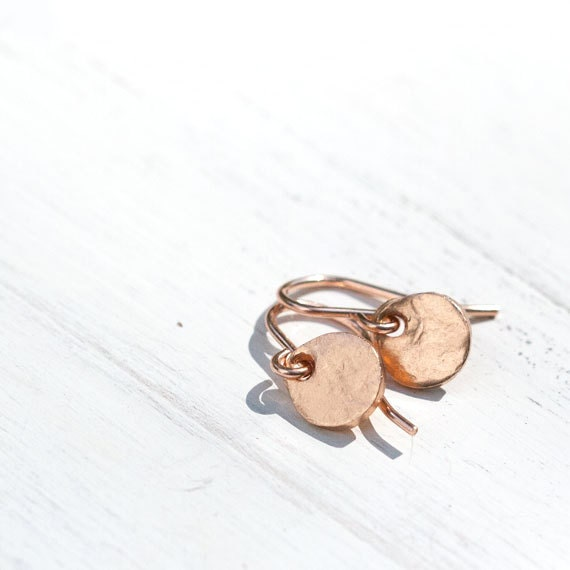Simple Rose Gold Earrings / Small Pink Gold Tag Disc Coin Earrings / Everyday Rose Gold Jewelry