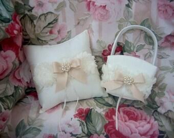 Ring bearer Pillow Flower Girl Basket Set Shabby Chic Vintage Ivory and Cream Custom Colors too