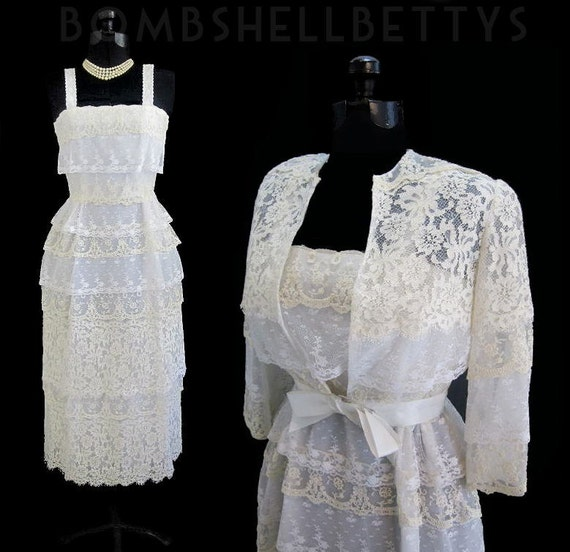 Vintage 70's 20's Revival Tiered White and Antique Lace Wedding Dress Gown With Matching Jacket S
