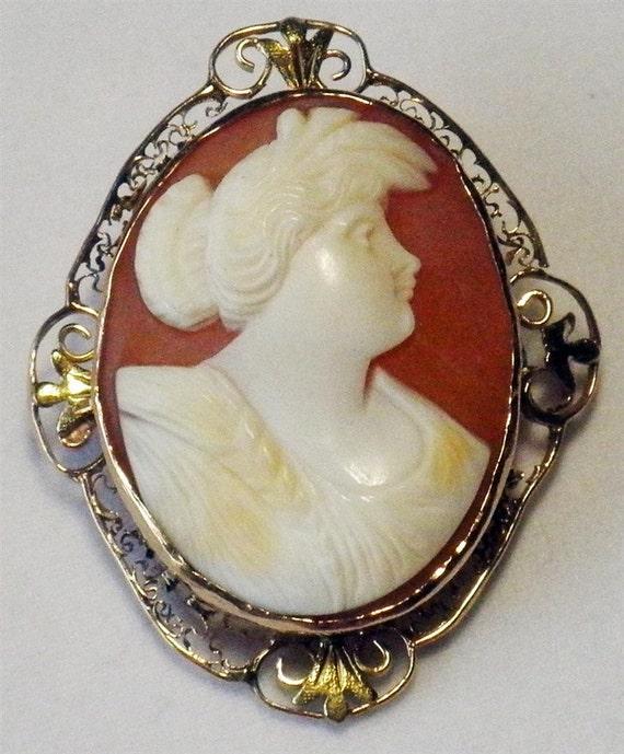 Vintage Shell Cameo Brooch (pin)