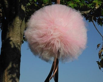 Bridal Shower Decor,  Tulle Pom Pom, Pink & Ivory