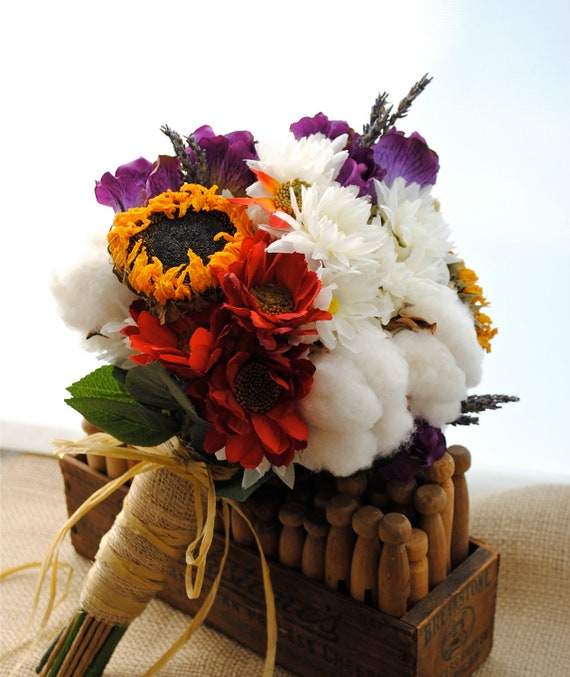 Wedding Bouquets Without Flowers: Items Similar To Mixed Cotton Boll Bridal Bouquet