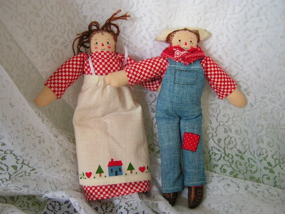 Primitive raggedy ann and andy primitive dolls