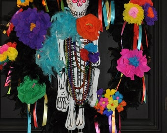 Day of the Dead  Halloween Wreath    Mr Bones