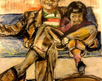 Commission Your Own Portrait Painting Insprired by your Favorite  Photo 11x14   Father and Little Girl  Sharing a Moment