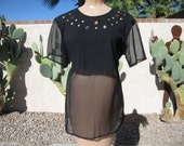 Vintage 80s Sheer Studded Long Blouse by Cristina
