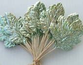 Vintage Millinery Flower Paper Craft Leaves Christmas Metallic Tea GREEN Floral Wreath Foil Art  Supply X10