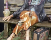 Vintage Pucci Bisque The Traveler On The Bench Signed Figurine