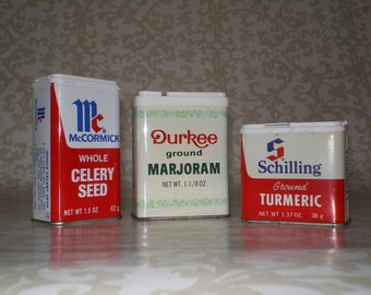 SET of THREE Vintage Spice Tins - 70s and 80s McCormick, Schilling, Durkee - All empty