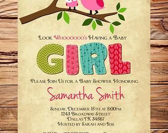 Owl Baby Shower Invitation, Baby Shower Invite, Boy, Girl, Whimsical, Blue, Pink, Baby shower Invite, 1447