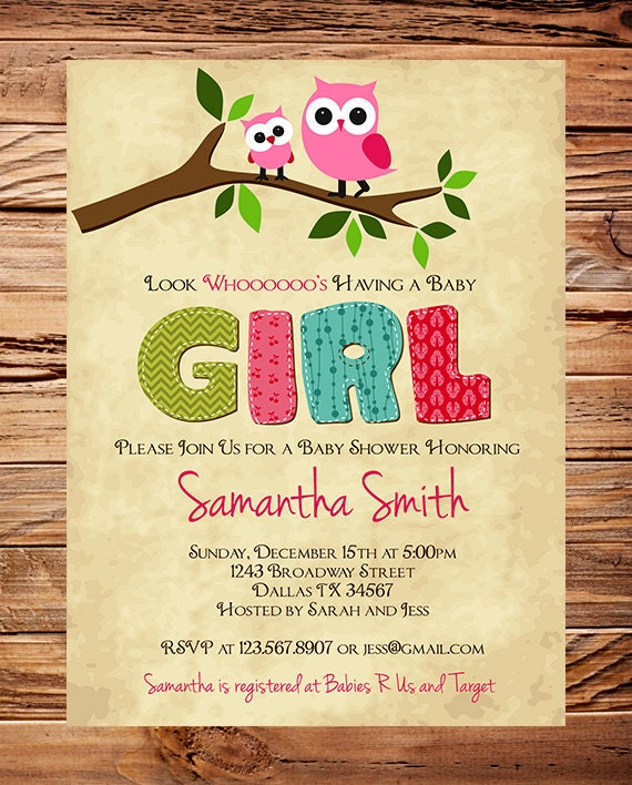 Owl Baby Shower Invitation Baby Shower Invite Boy Girl