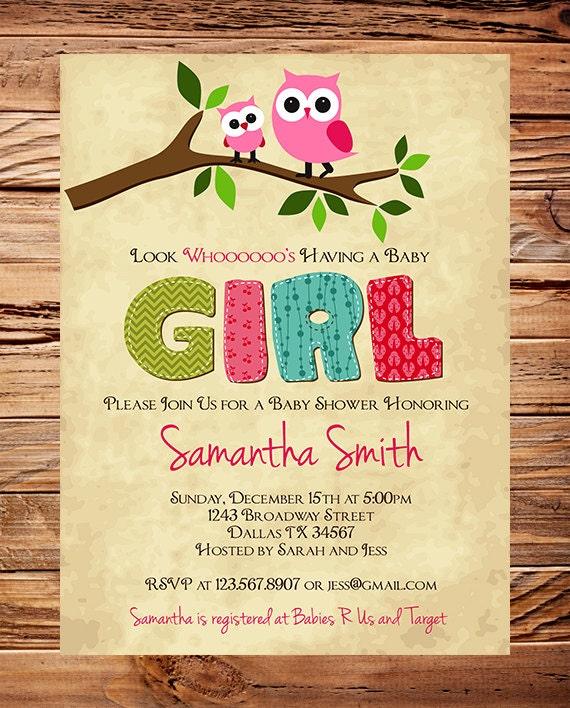 Owl baby shower invitation baby shower invite boy girl for Etsy owl wedding invitations